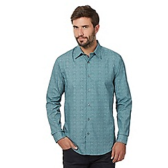 The Collection - Big and tall green retro print long sleeve shirt