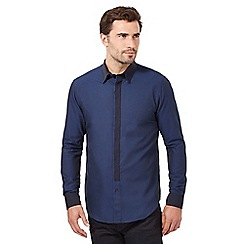 The Collection - Big and tall navy contrast birds eye tailored fit shirt