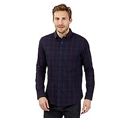 The Collection - Big and tall blue long sleeve check shirt