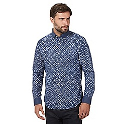 The Collection - Big and tall navy cornflower print long sleeve shirt