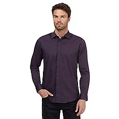 The Collection - Big and tall dark purple spot long sleeve shirt