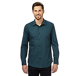 The Collection - Big and tall green cross print long sleeve shirt