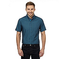 The Collection - Big and tall turquoise textured tailored fit short sleeved shirt