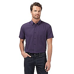 The Collection - Big and tall plum micro gingham classic fit shirt