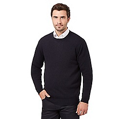 The Collection - Big and tall navy wool blend crew neck jumper