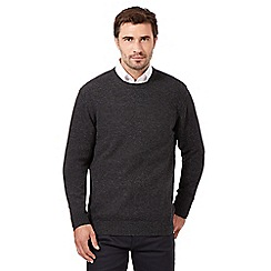 The Collection - Big and tall dark grey wool blend crew neck jumper