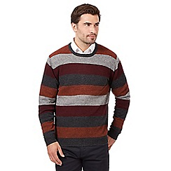 The Collection - Big and tall orange striped wool blend crew neck jumper