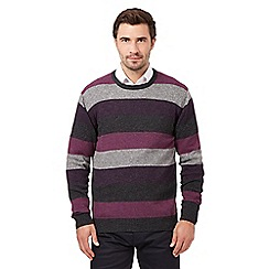 The Collection - Big and tall purple striped wool blend crew neck jumper
