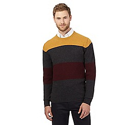The Collection - Big and tall yellow striped lambswool blend jumper