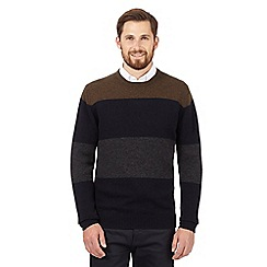 The Collection - Big and tall olive striped lambswool blend jumper