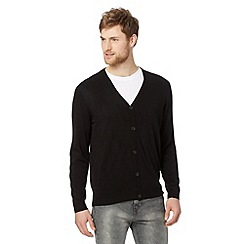 Thomas Nash - Big and tall black plain acrylic cardigan