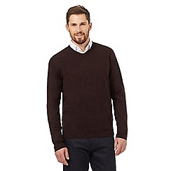 The Collection - Wine V neck acrylic jumper