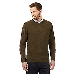 The Collection - Big and tall olive v neck acrylic jumper