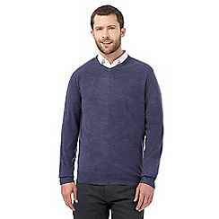 The Collection - Big and tall blue plain v neck jumper