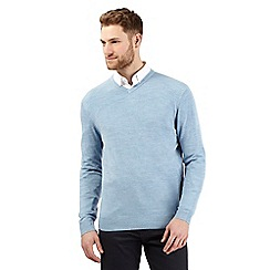 The Collection - Big and tall light blue plain v-neck jumper