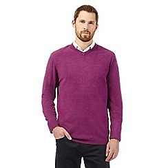 The Collection - Big and tall purple plain v neck jumper