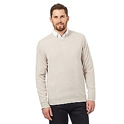 The Collection - Big and tall off white v neck acrylic jumper