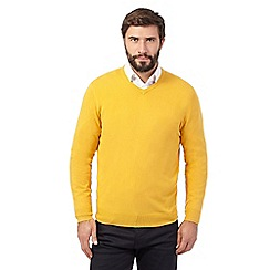 The Collection - Big and tall mustard v neck acrylic jumper
