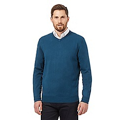 The Collection - Big and tall dark turquoise v neck acrylic jumper