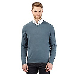 The Collection - Turquoise plain V-neck jumper