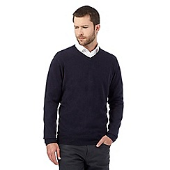 The Collection - Big and tall navy v neck acrylic jumper