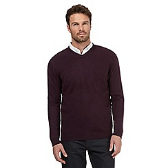 The Collection - Big and tall plum v neck acrylic jumper