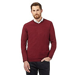 The Collection - Big and tall maroon v neck acrylic jumper