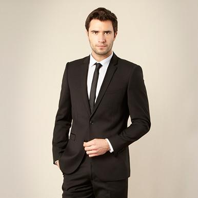 Black textured suit jacket