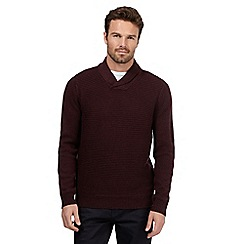 The Collection - Big and tall maroon shawl neck jumper