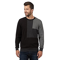 The Collection - Big and tall black square colour block jumper