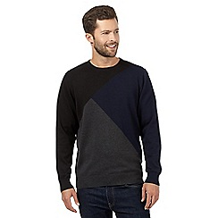 The Collection - Big and tall navy asymmetric block colour jumper