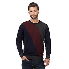 The Collection - Big and tall navy diagonal colour block jumper