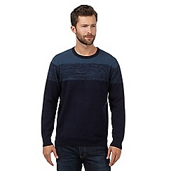The Collection - Big and tall navy broken striped yoke jumper
