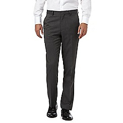 The Collection - Big and tall grey Donegal flat front trousers