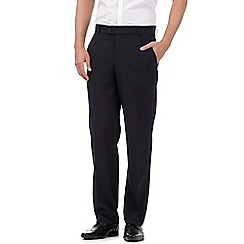 The Collection - Big and tall navy flat front regular trousers