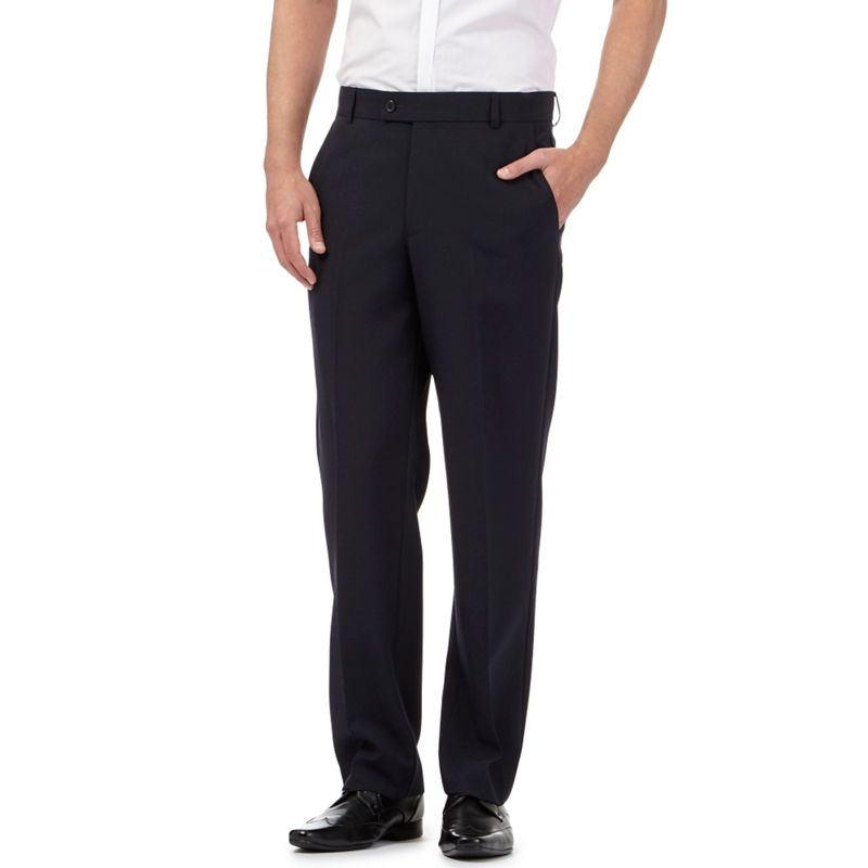 Big and Tall The Collection Navy (Blue) Flat Front Regular