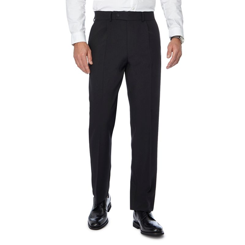 The Collection Black Pleat Front Regular Trousers, Mens,