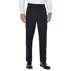 The Collection - Big and tall black pleated regular trousers with active waistband