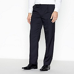 The Collection - Navy herringbone pleated regular trousers