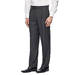 The Collection - Big and tall grey pleated front trousers