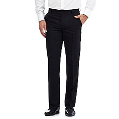 The Collection - Navy herringbone flat front slim trousers