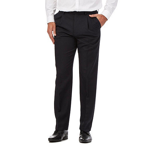 Thomas Nash - Navy pleated front trousers