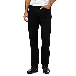 The Collection - Big and tall black straight fit raw jeans