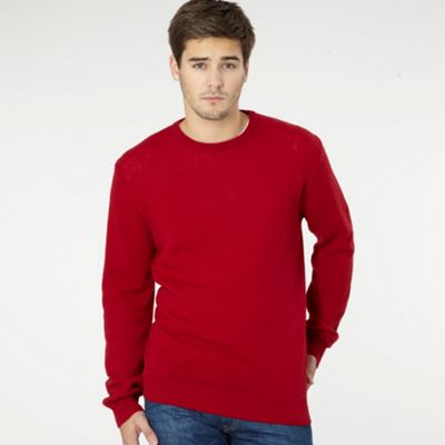 Red Lambswool Crew Neck Jumper