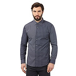 The Collection - Big and tall navy checked diamond shirt