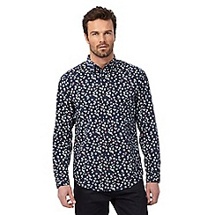 The Collection - Big and tall navy floral long sleeve shirt
