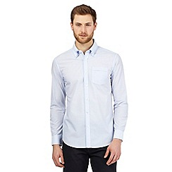 The Collection - Blue textured striped double collar shirt