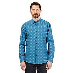 The Collection - Big and tall turquoise diamond print tailored fit shirt