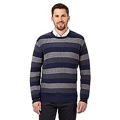 The Collection - Navy textured block stripe jumper