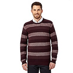 The Collection - Big and tall dark red textured block stripe jumper